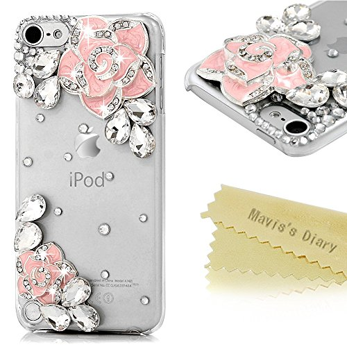 ipod 5 Case,ipod Touch 5th Generation Case - Mavis's Diary 3D Handmade Bling Crystal Shiny Sparkle Rhinestone Glitter Diamonds Gems Eleagnt Camellia Flowers Design Clear Cover Hard PC Case - Pink (Ipod 5 Cases Pink Gems compare prices)