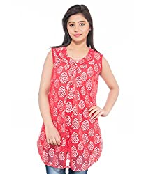 Feminine Red Floral Printed Net Tunic