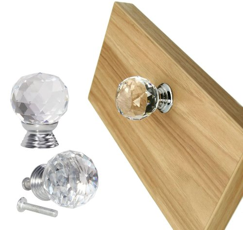 10 Pcs 40Mm Clear Crystal Glass Cabinet Knobs Drawer Pulls Kitchen Door Pulls And Knobs Chest Bin Handle Wardrobe Hardware,Used For Cabinet, Drawer, Chest, Bin, Dresser, Cupboard front-39307