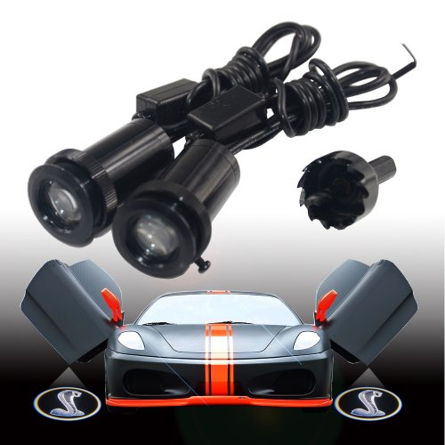 2X Cool Naja Logo For Ford Shelby Gt500 High Definition Cree 3W Car Door Step Led Projection Light Led Courtesy Welcome Logo Ghost Shadow Light Lamp Led Projector Projection Puddle Light