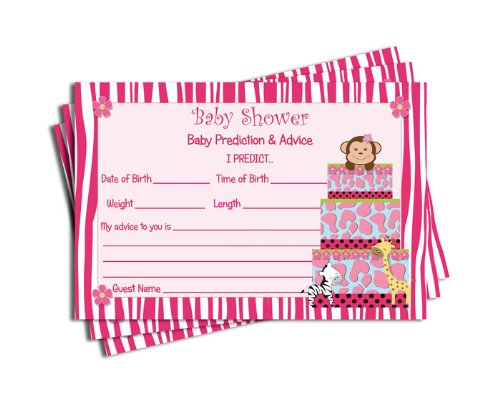 Girl Baby Shower Advice & Prediction Cards for Mom Pink Zebra Jungle Cake Themed Games (50-cards)