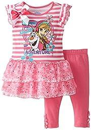Disney Little Girls\' 2 Piece Anna and Olaf Legging Set, Pink, 6X