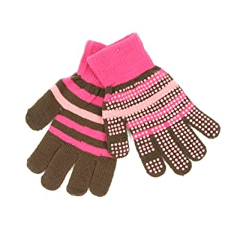 Girl's 7 - 14 Texting / Gaming Gloves (Gripper Palm, Stretch Fit) - Brown