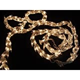 9 Christmas Light Garland with 300 Clear Mini Lights White Wire