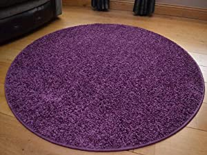 Runder Plain Purple Circular Shaggy Pile Rug. Size 100cm Diameter from Rugs Supermarket