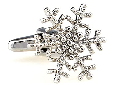 Snowflake Cufflinks with a Presentation Gift Box