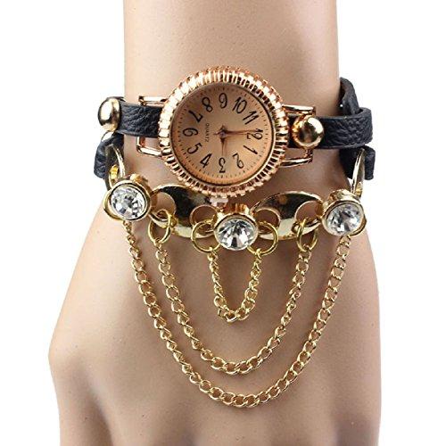 Sannysis(Tm) 1Pc Shiny Quartz Leather Rivet Bracelet Wrist Watch (Black)