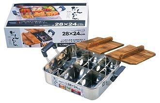だんらん ステンレス製 木蓋付角型おでん鍋 28×24cm(仕切板付) H-4827