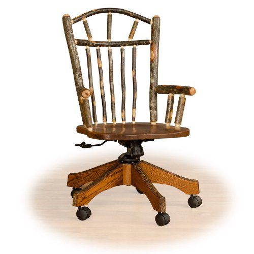 Rustic Hickory fice Chair OAK Seat Amish Made Holiday