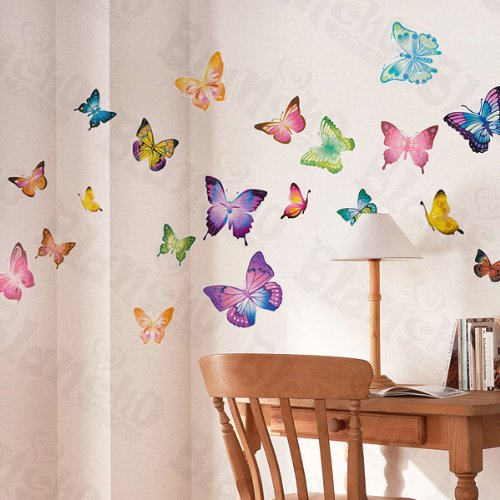 Moving Butterflies - Large Wall Decals Stickers Appliques Home Decor