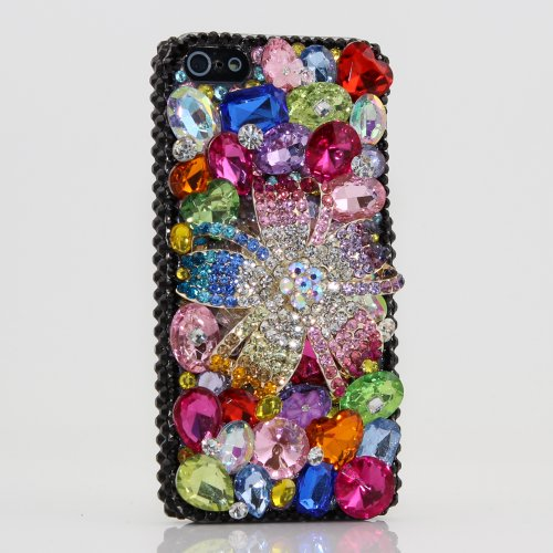 Special Sale iphone 5 5S Case Luxury 3D Swarovski Crystal Diamond Muti Color Flower with back background Design Bling Case Cover (100% Handcrafted by BlingAngels)