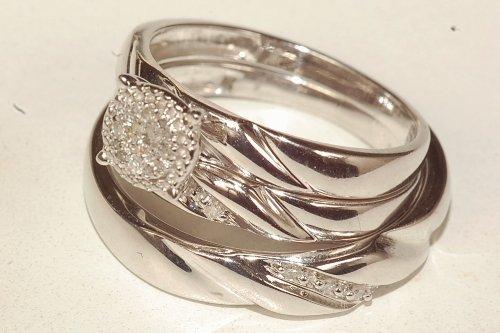 Men & Ladies White Diamond Engagment and Wedding Trio Ring Set Jewelry