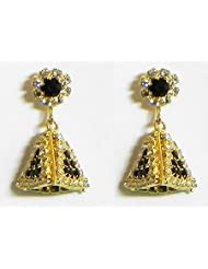 Black And White Stone Studded Designer Earring - Stone And Metal