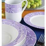 32piece Star Flower Dinner Set Lilac Stoneware