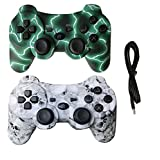2 Pack Wireless Bluetooth Vibration Controller for PS3, Gamepad Remote for Playstation 3 with Charge Cable - Green Lightning and Skull Models (Color: Green Lightning and Skull Model)