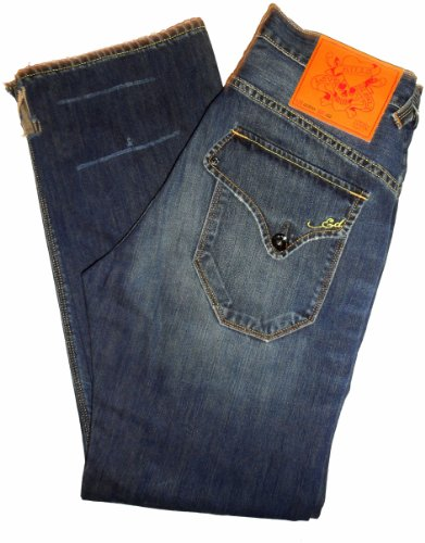 Men's Ed Hardy Jeans McQueen Loose Leg Flap Pocket Fit Size 32 X 34