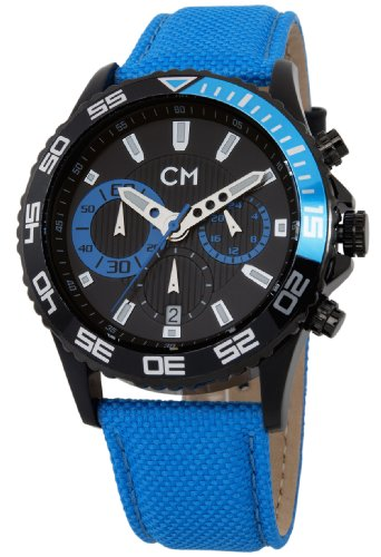 Carlo Monti Avellino Men's Quartz Watch with Black Dial Chronograph Display and Blue Fabric Strap CM509-663