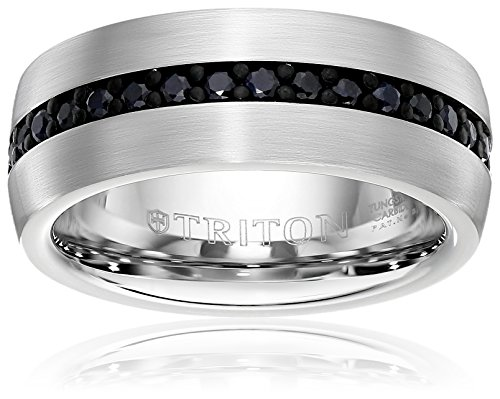Triton Men's Tungsten 8mm Black Sapphire Wedding Band (1cttw), Size 9.5 (Platinum Wedding Band Couple compare prices)