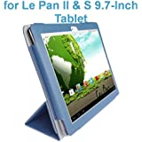 """Le Pan II 9.7""""/ Le Pan S 9.7"""" Tablet Custom Fit Portfolio Leather Case Cover with Built In Stand- Blue"""
