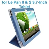 "Le Pan II 9.7""/ Le Pan S 9.7"" Tablet Custom Fit Portfolio Leather Case Cover with Built In Stand- Blue"