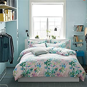 Duvet Cover Set Without Comforter 4 Piece Blue And Pink Flower Pattern
