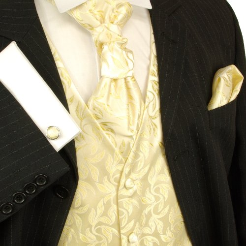 Paul Malone Wedding Vest Set Cream Gold 5pcs Tuxedo Vest + Necktie + Ascot + Hanky + 2 Cufflinks S