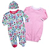 Zutano Baby-Girls Dizzy Daisy Footie, Hat and Gown Set
