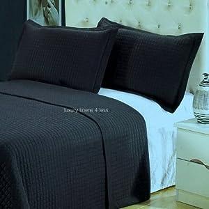 Hotel Modern Black Quilt Coverlet Set King/Cal King