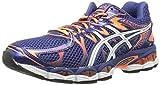 ASICS Men's Gel-Nimbus 16 Running Shoe, Blue Print/Flash Orange/Black, 11.5 M US