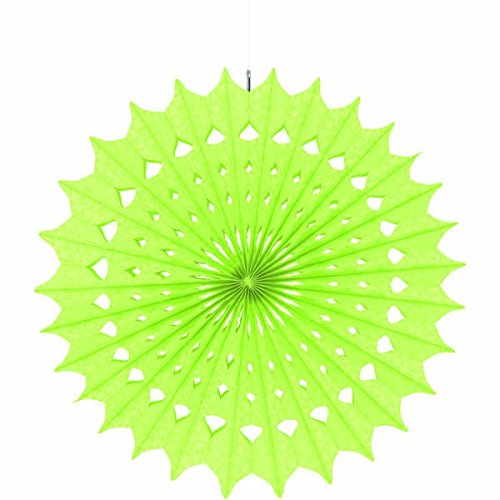 "Amscan Fun Damask Printed Honeydew Hanging Fan Decorations, 16"", Green"