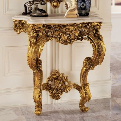 Cheap Madame Antoinette Wall Console Table in Faux Antique Gold (KY619)
