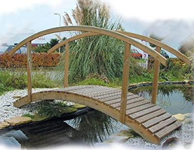 Wooden Garden Bridge with Railings for Ponds and Streams OGD094