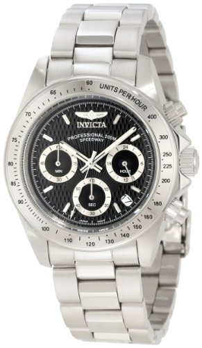 Invicta Men's Speedway Chronograph 9223 Silver Stainless-Steel Quartz Watch with Black Dial
