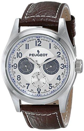 Peugeot Hommes 2028 Silver-Tone Multi-Fonction montre bracelet en cuir brun