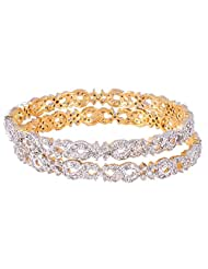 Bharat Sales Gold Plated White Alloy Bangles For Women - B00YPAU8J4