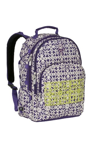 Lassig Casual Backpack Diaper Bag, Grid Dark Purple