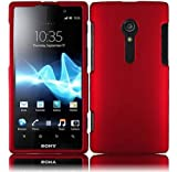 5 Items Combo for Sony Xperia Ion Lt28i (At & T)- Red with Rubberized Coating Snap on Hard Skin Shell Protector Cover Case + Stylus Pen + Premium Lcd Screen Guard + Microfiber Pouch Bag + Case Opener