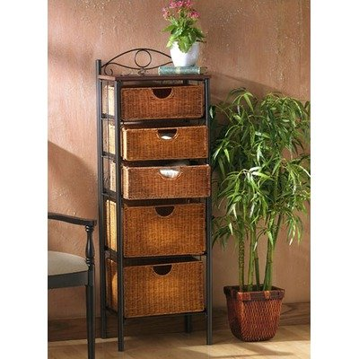 SEI Iron/Wicker Five Drawer Unit