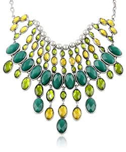 "Lucky Brand ""Mar14 Garden Glam Caseline"" Multi-Green Bib Choker Necklace, 17"""
