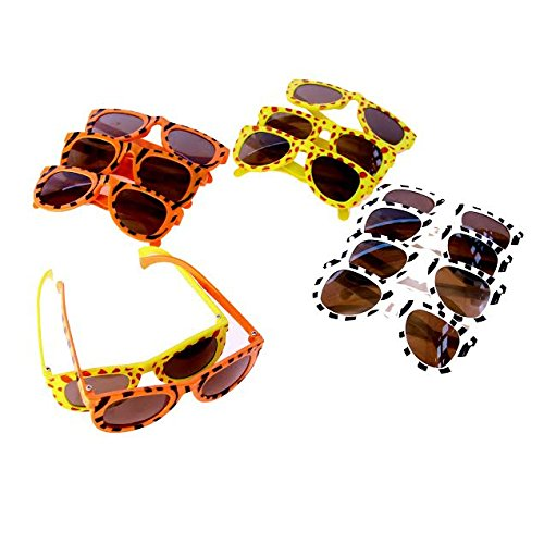Dazzling Toys Animal Print Sunglasses Assortment - Pack of 12 - Leopard, Tiger and Zebra Styles