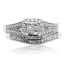 buy 10K White Gold Bridal Wedding Set Princess Cut Diamonds 1/2Cttw Split Shoulder (I2/I3, I/J)
