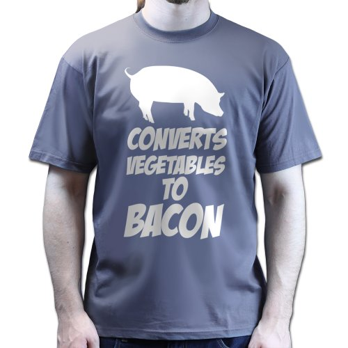 Converts Vegetables Baconstrips Bacon Strips Meal Tshirt Charcoal Grey L