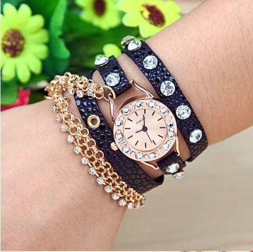 Kano Bak(Tm) Fashion Metal Punk Diamond Wrap Around Weave Woman Lady Gift Leather Watch Bracelet Wristwatch Wristband Black