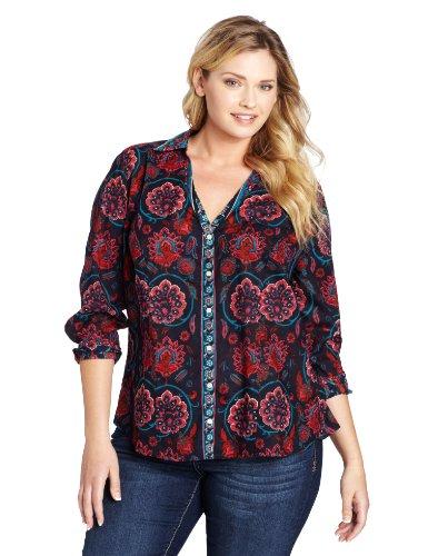 Lucky Brand Women's Plus-Size Jane Scarf Blouse