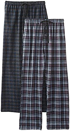 Hanes Men's 2-Pack Flannel Plaid Pant, Charcoal/Black, Medium