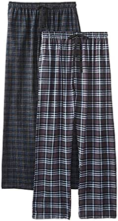 Hanes Men's Flannel Plaid Pant, Charcoal/Black, Medium (Pack of 2)
