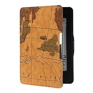 Armel kindle paperwhite Lederhülle landkarte Cover Case Tasche Etui Schutzhülle für New Kindle Paperwhite 2013 mit Displayschutzfolie