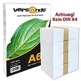 2000 Blatt DIN A6  hochweißes ökologisches Druck- und Kopierpapier MARKE versando® 80 Umweltzertifikat Druckerpapier