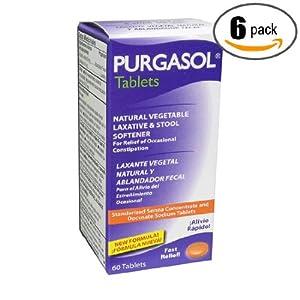 6pk - Purgasol - Natural Vegetable - Purgante - Tablets