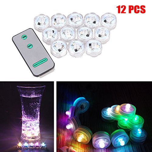 Soondar 12x Submersible LED Vase Light Waterproof Wedding Floral Decoration Party Tea Light for Wedding/Party/ Xmas Floral Decoration, 7 Color Automatically Change, with Remote(On/Off Function)